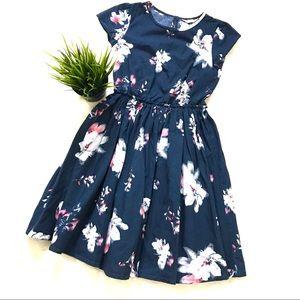 Lands End short sleeve twirl dress navy floral